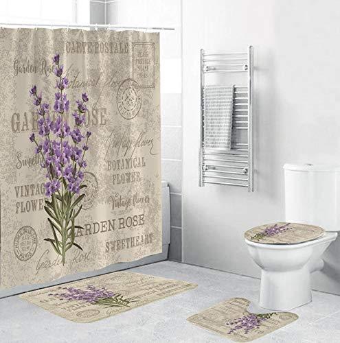 YCDtop Lavendel Muster Duschvorhänge Schöne Blumen Bad Vorhang Badematte Set rutschfeste Sockelteppich Toilettendeckel Abdeckmatten (180x180cm)