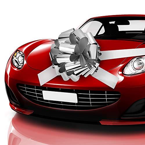 Auto Bow Bogen Schleife Auto Geschenk Verpackungsbogen mit 20 ft Auto Band für Auto Dekor Hochzeit New Houses Party Feier (Glänzendes Silber, 20 Zoll)
