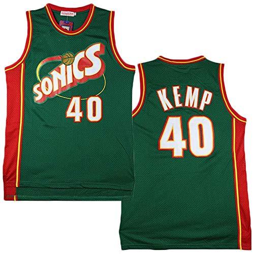 XSJY Camisetas De Baloncesto De Los Hombres - NBA Seattle Supersonics 40# Shawn Kemp Mangas Alero Edición De Malla Jersey Unisex Chaleco De La Tapa Sportwear,B,XL:180~185cm/85~95kg