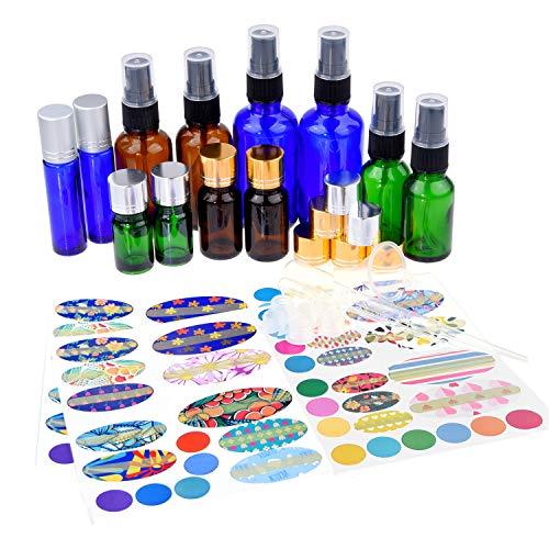 Flaschenset für ätherische Öle in verschiedenen Größen: 12x Flaschen für Öl (6 Modelle), 6x Feinsprüher, 10x Öffnungsreduzierkappe, 1x Flaschenwerkzeug, 78x Aufkleber, 2x Pipette + Trichter