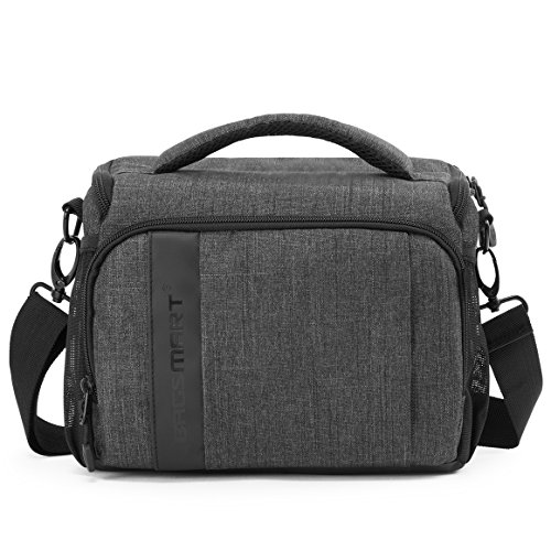 BAGSMART Camera Bag Padded Shoulder Bag Camera Case with Rain Cover for SLR DSLR, Lenses, Cables, Accessories, Grey