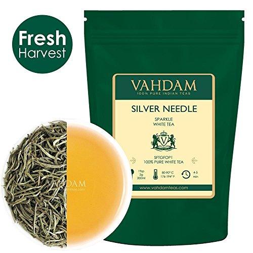 VAHDAM, Silbernadel Weißer Tee Loose Leaf (25 Tassen) | GESUNDHEITLICHER TEE, 100% NATÜRLICHE weiße Teeblätter | LEISTUNGSFÄHIGE ANTI-OXIDANTEN, CAFFEINFREI | 50gr