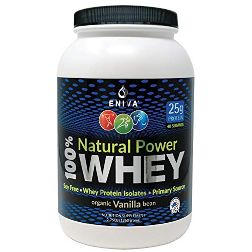 ENIVA Natural Power 100% Whey Protein Powder, Organic Vanilla, Clean Protein for Everyone & Keto, High Protein, Low Carb, Gluten Free Non GMO Soy Free, Whey (WPI) Isolate Primary, USA Made 2.75 lbs