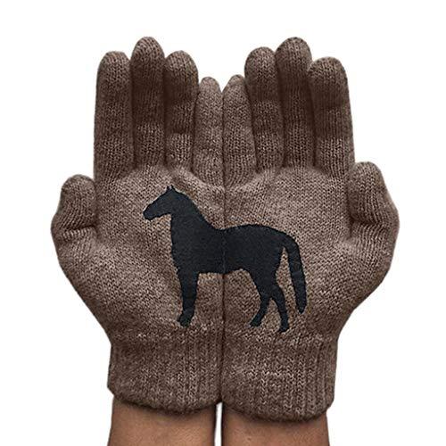 Guantes de invierno para mujer, clidos, suaves, divertidos, para caballo, irregulares, con patchwork, trmicas para disfrazarse, conducir, correr
