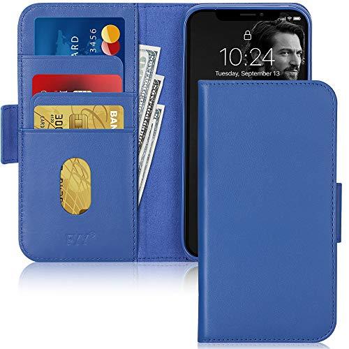 FYY iPhone 11 Pro Max Hülle(2019),für iPhone 11 Pro Max Handyhülle,[Rindsleder Echtem Leder]Flip Brieftasche Hülle[Ständer-Funktion]mit Kartensteckplätze für iPhone 11 Pro Max Hülle 6.5''-Schwarzblau