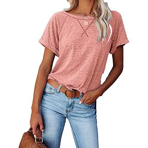 Mayntop Tops de verano para mujer de manga corta raglán liso sólido entrecruzado cruzado suelto casual camiseta, A-rosa, 46
