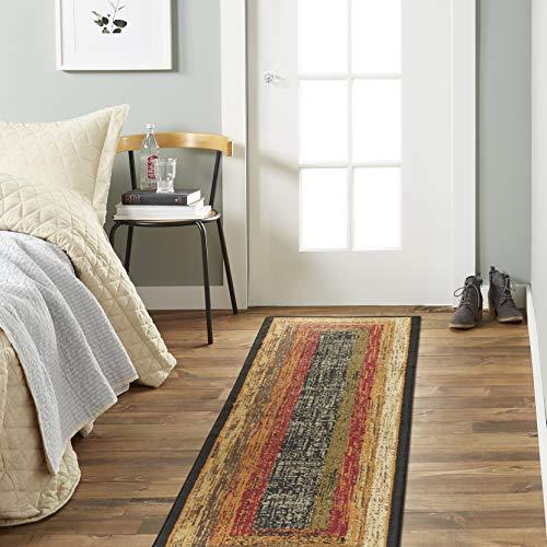Home Dynamix Vega Modern Area Rug, Geometric Black/Brown/Red 7'8″; X 10'4″; Rectangle & Ultra Stop Non-Skid Cushioned Rug Pad 7'x8 x 10'2 Rectangle, Cream/Neutral
