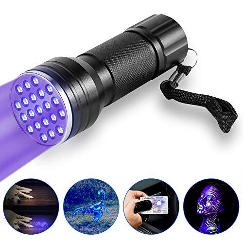 Linterna Ultravioleta Antorcha UV, 21 LED Antorcha de Linterna UV de Luz Negra, Lámpara de Antorcha Portátil para Detector de Orina de Mascotas y Encontrar Manchas en la Ropa