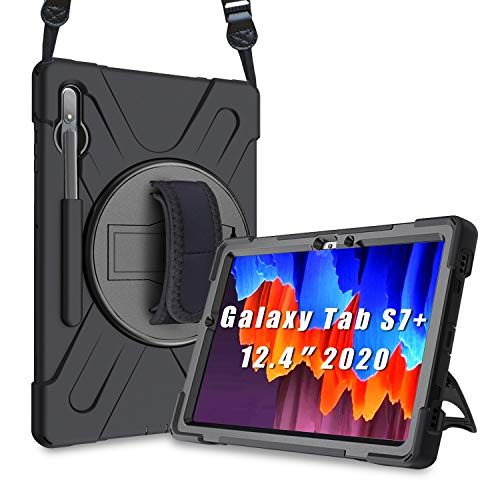 """ProCase Galaxy Tab S7 Plus 12.4"""" 2020 Case with S Pen Holder (Model SM-T970/T975/T976), Rugged Heavy Duty Shockproof Case with Hand Strap Rotating Kickstand Protective Cover Case –Black"""