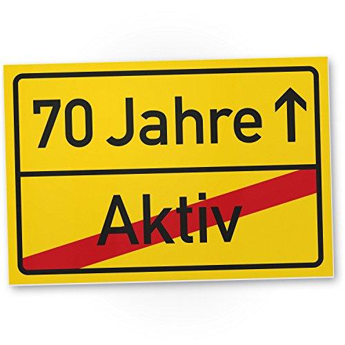 Bedankt! 70 jaar (actief) - plastic bord/plaatsnaamplaatje, cadeau 70e verjaardag, cadeau-idee verjaardagscadeau zeventig, verjaardagsdecoratie/feestdecoratie/feestaccessoires/verjaardagskaart