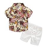 Miyanuby Baby Boy Clothes Summer Beach Holiday Style Short Sleeve Hawaiian Floral T-Shirt Tops + Elastic Waist Shorts, 2 Pieces...