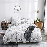 Dencalleus Sets de Housse de Couette Marbre 100% Coton Blanche 220x240 cm avec 2 x...