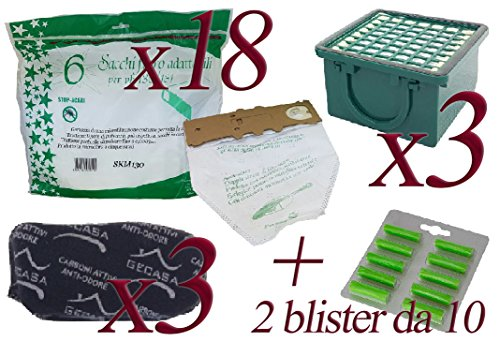 Bolsas de microfibra + ambientadores de pino + Filtro carbón + Filtro HEPA para aspirador Folletto Vorwerk VK130–VK131 18 Sacchetti + 20 Profumini + 3 Carboni + 3 Hepa