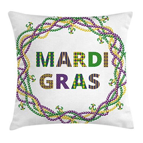 Ambesonne Mardi Gras Throw Pillow Cushion Cover, Vivid Beads Circular Frame with Lettering Traditional Patterns Print, Decorative Square Accent Pillow Case, 24 X 24 Inches, Purple Green Yellow