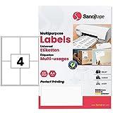 Etichette di Carta Bianche Universali A4 105 x 148,5 mm – 400 Etichette 4 Etichetta per Foglio A4 Adesivo Permanente per Lettere Etichette per Spedizioni FBA, Scatole