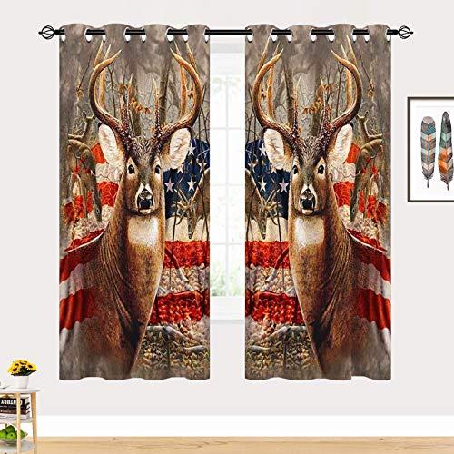 ANHOPE Deer Curtains, Camouflage Rustic Patriotic Deer Big Antler Old Forest Retro American Flag Print 3D Pattern Semi Blackout Grommet Window Drapes for Bedroom Living Room 2 Panels W27.5 x L39