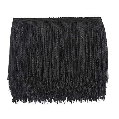 10 Yards Sewing Fringe Trim - 6in Wide Tassel for DIY Craft Clothing and Dress Decoration (Black)