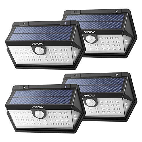 Mpow Solarleuchte, Solarlampe Außen, Weitwinkel 40 LED Solarleuchte, 3 Modi Solarlicht mit Bewegungmelder, Solarbetriebene Sicherheitswandleuchte, 120 ° Weitwinkel für Garten, Garage, Auffahrt