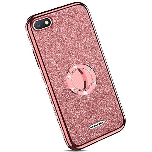 Ysimee kompatibel mit Xiaomi Redmi 6A Hülle, Bling Schutzhülle Glänzend Weiche TPU Silikon HandyHülle Bumper Case mit Ring 360 Grad Ständer, Diamant Glitzer Case, Rose gold