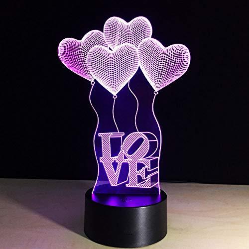 Amor Forma 3D LED lámpara de luz nocturna 7 colores cambiantes Touch Control para niños familia Ferienhaus decoración San Valentín Navidad mejor regalo
