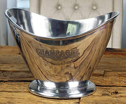 MichaelNoll Champagnerkühler Champagnerschale Flaschenkühler Aluminium Silber XL Champagne 36,5 cm