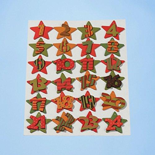 HobbyFun Calendrier de l'Avent Chiffres 1–24 étoiles Rouge/Vert/Orange en Bois CREApop 3270100