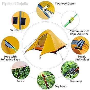 GEERTOP Tente de Camping 2 Personnes, 4 Saison Ultralégère Imperméable Dôme Double Couche Trekking Tente pour Bikepacking Randonnée Outdoor