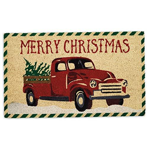 DII Natural Coconut Coir Holiday Season Doormat, 18x30, Christmas Truck