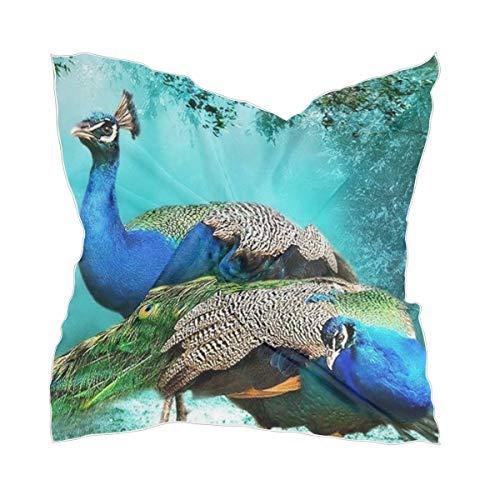 XiangHeFu Dames halsdoek zijden sjaal hoofdtooi chiffon veer vogels mooie pauw hoofddoek