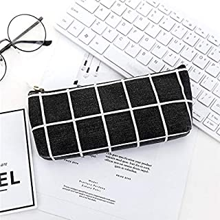 Yiherone Canvas Pencil Case Childlike Stripy Grid Pencil Bag Office Supplies Students Pencils Writing Stationery(White) New (Color : Black)