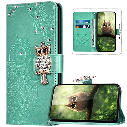 Handyhülle für Samsung Galaxy A20S Hülle Leder,Galaxy A20S Klapphülle Handytasche Bling Glitzer Diamant Eule Muster Tasche Leder Flip Hülle Lederhülle Magnetisch Wallet Schutzhülle,Grün