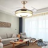 Ventilador de techo de 36 W 42' con luz LED y mando a distancia, tiras de luces LED antidesapercibidas, ventilador y araña combinado, CCT regulable, lámpara de techo dorada