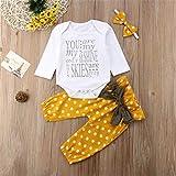 BABIFIS - Conjunto de ropa para niñas, body de manga larga y estampado de letras, conjunto de tres piezas turban con lunares amarillos, 70 cm