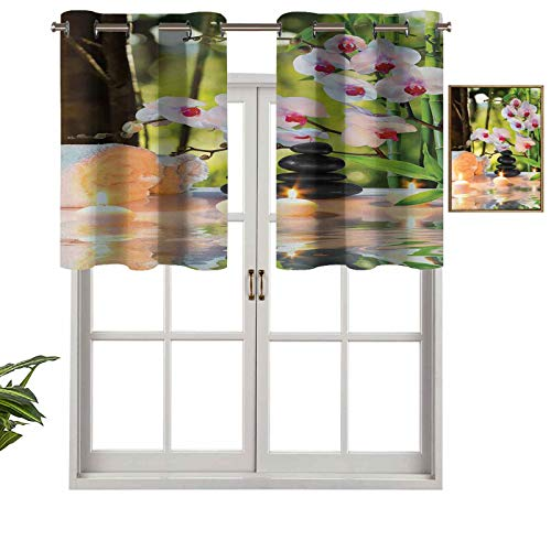 Hiiiman Valance Curtains Grommet Thermal Insulated Massage Composition Spa Theme with Candles Orchids and The Stones in Garden, Set of 1, 36'x18' for Bedroom Bathroom and Kitchen Blackout Curtains