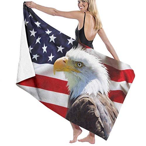 Bandera Americana y águila Toalla de baño Playa SPA Ducha Baño Envoltura Luz Suave Cómodo 80X130 Cm