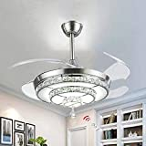 BIGBANBAN Crystal Ceiling Fan with Light and Remote,4-Blades Retractable Fans Chandelier,LED Indoor Fans Ceiling for Dining Room/Bedroom 42 inch (Sliver)