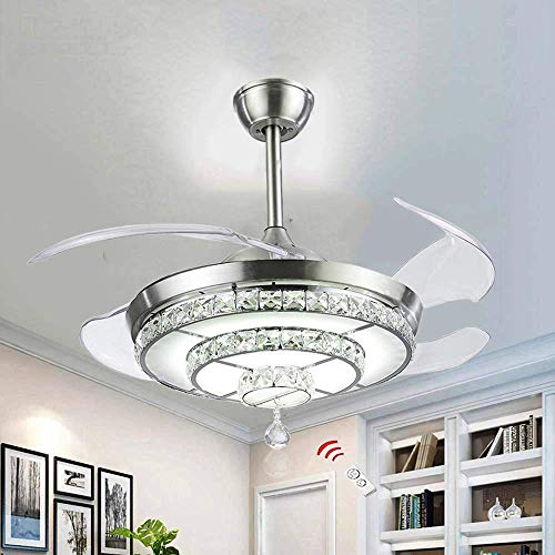 BIGBANBAN Crystal Ceiling Fan with Lights and Remote, 4-Blades Retractable Fans Chandelier LED Indoor Fans Ceiling for Dining Room/Bedroom 42 inch (Sliver)