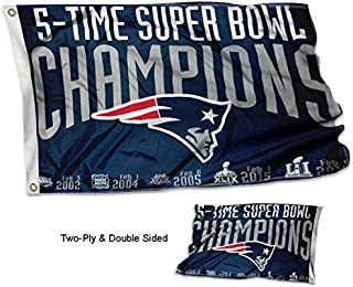 WinCraft New England Patriots Double Sided 5 Time Super Bowl Champions Flag
