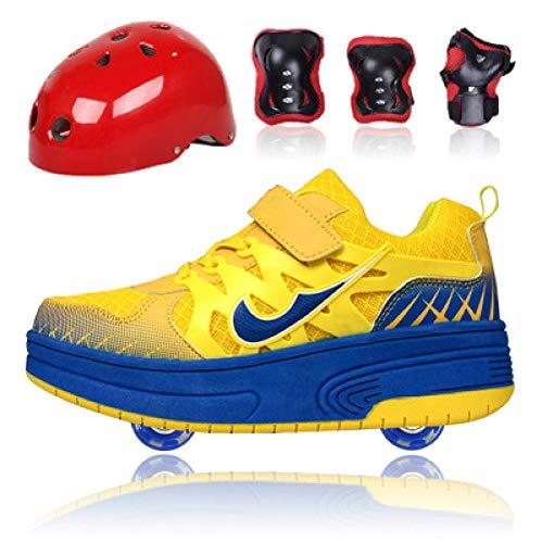 WLOWS Set-Children Heely Roller Skate Shoes Zapatos De Skate Zapatillas De Deporte para Niños con Dos Ruedas Zapatillas De Skate para Niñas Y Niños-2 En 1 Rueda De Deformación De Doble Fila,Yellow-31
