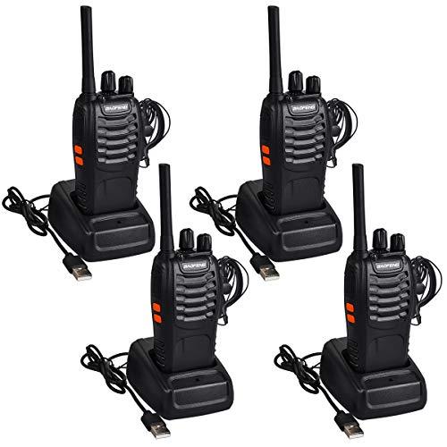 Funkprofi Walkie Talkie Set, Funkgeräte 16 Kanäle Reichweite 5 km Wireless Professionelle Hand-Funkgerät Dual Band Radio CTCSS/DCS Rauschsperre 400-470 MHz mit Headset (2 Paar 88E)
