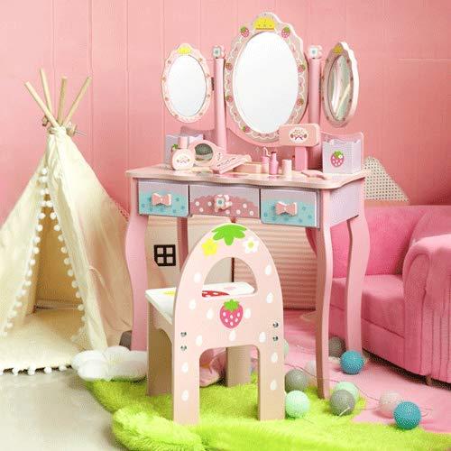PETRLOY Serie rosa da sogno Toilette giocattolo Regali per ragazze, Giochi per bambini Set di giocattoli per trucco Gioco di ruolo Giocattolo per gioielli Fai finta di trucco per ragazze, Regalo di co