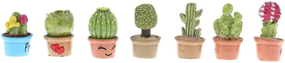 1:12 Dollhouse Miniatures Clay Greenery 7pcs Potted Succulent Plants Decor
