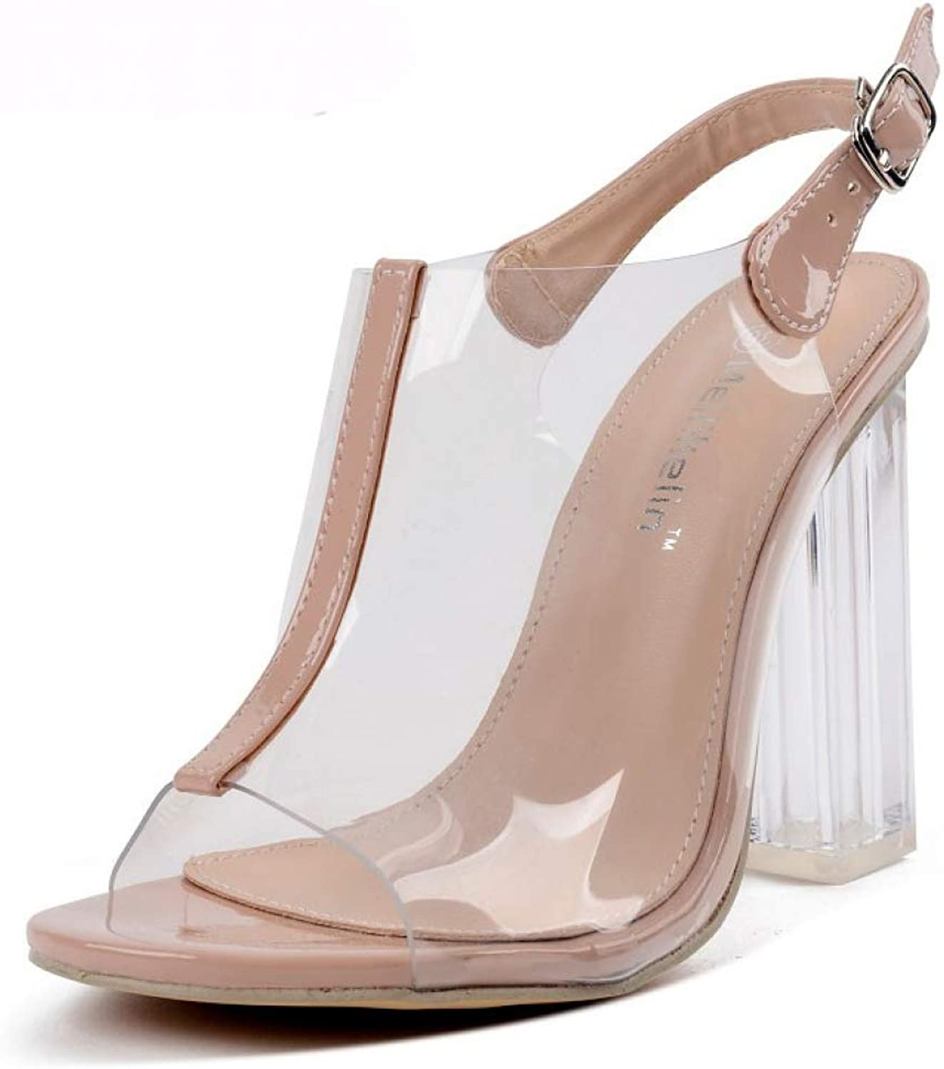 T-JULY Sandal for Women Transparent Peep Toe Thick High Heel Summer Ladies Crystal Clear Strap Sexy Party shoes