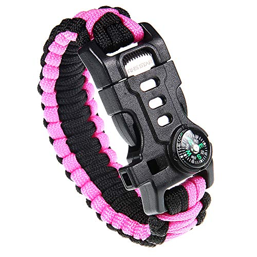 Paracord Survival Bracelet with Paracord Rope, 5-in-1 Tactical Bracelet Fire Starter, Compass, Emergency Whistle & Small Knife for Hiking Traveling Camping Gear Kit (Pink_Regular)
