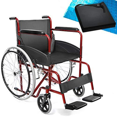 AIESI Sedia a rotelle pieghevole leggera per disabili ed anziani AGILA BASIC # Cuscino Antidecubito in gel # Braccioli e Poggiapiedi fissi # Cintura di sicurezza # Garanzia Italia 24 mesi