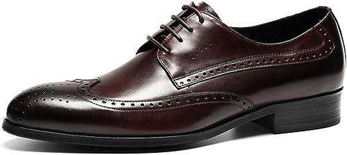 LYMYY schuhe de vestir formales hechos a mano de los herren Moda de cuero de grado superior schuhe Oxford de negocios Clásicos con cordones Brogues schuhe informales