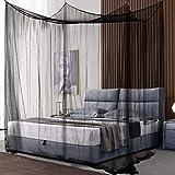 COSTWAY Moskitonetz für Doppelbett, Mückennetz aus Polyester, Bett Fliegennetz, Betthimmel inkl. Haken, Bettdekoration 220 x 200 x 210 cm (Schwarz) - 6