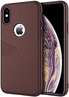 SHUANGRUIYUAN Ultra-Thin Shockproof Diffused TPU + Leather Case for iPhone Xs Max (Color : Brown)