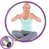 Alduos Aro de hula hoop para adultos, fitness, de acero inoxidable, para pérdida de peso con espuma, ajustable, de 1,2 a 3,2 kg