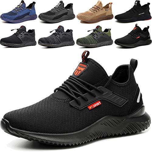 Zapatos de Seguridad Hombre, Zapatillas de Trabajo con Punta de Acero Ultraligero Transpirables, Talla 36-48